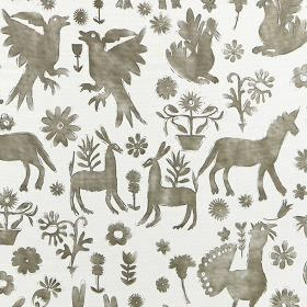 Jaisalmer - Calico - Iron grey and off-white coloured unicorns, animals, birds and flowers printed on fabric made from 100% cotton