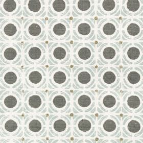 Obon - Willow - Charcoal coloured circles with light grey geometric shapes printed repeatedly on white fabric made from 100% cotton