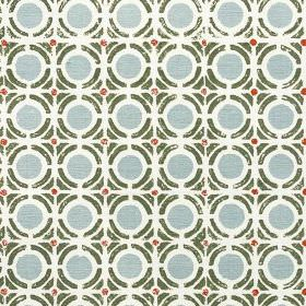 Obon - Fern - Circles and geometric shapes printed repeatedly on 100% cotton fabric in white, slate grey, light blue-grey and maroon
