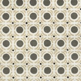 Obon - Calico - Slate grey, beige and off-white coloured 100% cotton fabric printed with a repeated design of circles & geometric shapes