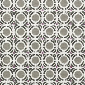 Obon - Fuchsia - 100% cotton fabric in white, printed with black geometric shapes and circles in iron grey and dark purple