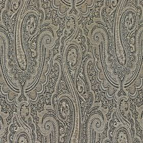 Persia - Flint Grey - Beautiful, elegant patterns printed on cotton and polyester fabric, creating a detailed swirling design in black & gre