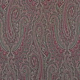 Persia - Berry - Dark shades of purple, black and grey making up a glamorous, detailed, elegant pattern on cotton and polyester fabric