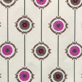 Potala - Pink - Violet, dark grey and wine coloured circles, lines and patterned rings printed in rows on very pale grey 100% cotton fabric