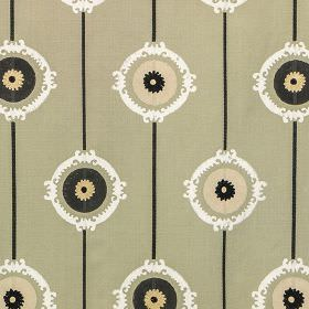 Potala - Beige - Cement grey 100% cotton fabric with a sophisticated pattern of lines, circles and patterned rings in cream, white and black