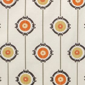 Potala - Orange - 100% cotton fabric printed with thin dark grey lines, black patterned rings and orange and light gold coloured circles