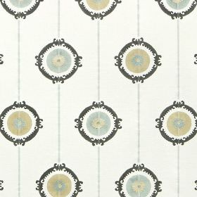 Potala - Duck Egg - Fabric made from off-white 100% cotton, featuring light blue and grey circles and lines, with black patterned rings
