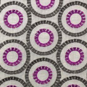 Shambala - Fuchsia - Bright purple & black concentric circles creating an embroidered viscose design on light grey polyester & cotton fabric