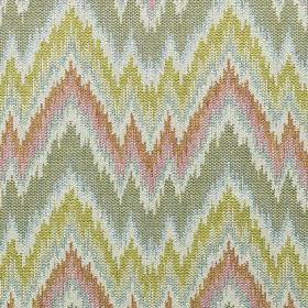 Holy - Fern - Light grey, orange, pink, cream and lime green making up a horizontal zigzag pattern on cotton, viscose and linen fabric