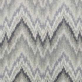 Holy - Berry - Cotton, viscose and linen blend fabric made in white and light shades of grey, featuring uneven, horizontal zigzags