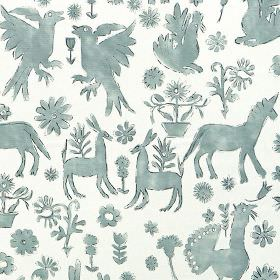 Jaisalmer - Duck Egg - Roughly drawn unicorns, animals, birds and flowers printed in dusky blue on a white 100% cotton fabric background
