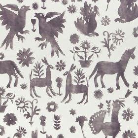 Jaisalmer - Berry - Very pale grey-white coloured 100% cotton fabric printed with aubergine coloured unicorns, animals, birds and flowers
