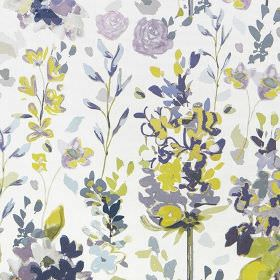 Kew - Olive - Pretty floral patterns printed in mauve, navy blue, sky blue and lime green on a background of white 100% cotton fabric
