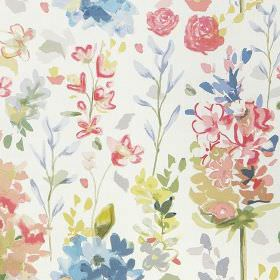 Kew - Coral - 100% cotton fabric printed with a pretty, delicate floral pattern in light shades of pink, white, blue and green