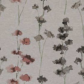 Rosemore - Coral - Watercolour style flowers printed in dark grey and blood red on a light grey polyester and cotton blend fabric background