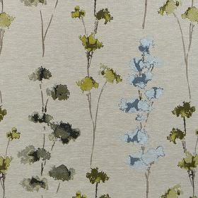 Rosemore - Olive - Light grey polyester and cotton blend fabric with a baby blue, olive green and dark grey watercolour style floral design