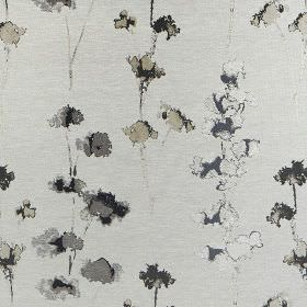 Rosemore - New Ivory - Fabric made from polyester and cotton in various shades of grey, with pretty florals printed with a watercolour effec