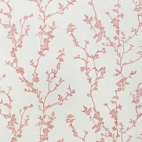 Studley - Coral - Fabric made from 100% cotton in pale grey, with a pretty light pink design of thin, simple branches and blossoms