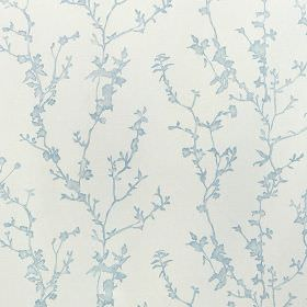 Studley - Powder Blue - Branches and blossoms creating a thin, delicate pattern on 100% cotton fabric in chalk white and baby blue colours
