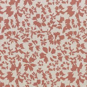 Harlow - Coral - Simple, stylised, light red coloured petals printed on white fabric made from a blend of polyester and cotton