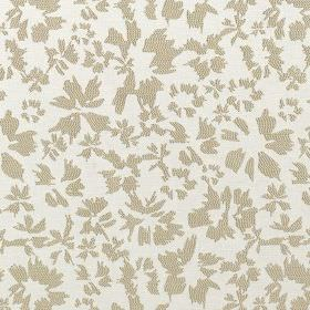Harlow - New Ivory - Fabric made from light grey and off-white polyester and cotton, featuring a simple, stylised design of petals & flowers