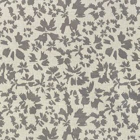Harlow - Slate - Pale grey fabric made from polyester & cotton, scattered with a simple, stylised petal design in a darker shade of grey