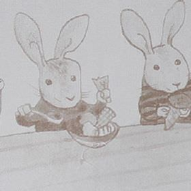 Playtime - Beige - Bunny rabbits wearing clothes and eating food printed on 100% cotton fabric in various different light shades of grey