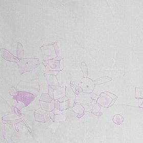 Playtime - Rosa - Baby bunny rabbits stacking toy bricks in a pink-purple design on a background of 100% cotton fabric in very pale grey