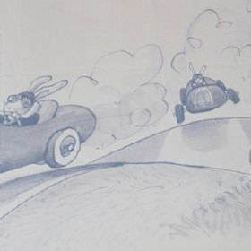 Racing - Indigo - Racing cars driven by bunny rabbits in an outdoor scene printed on 100% cotton fabric inpale grey-white and dusky blue