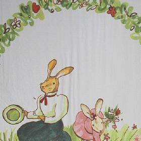 Picnic - Multi Coloured - Bunny rabbits wearing clothes printed with flowers in greens, greys, pinks, reds and browns on white 100% cotton f