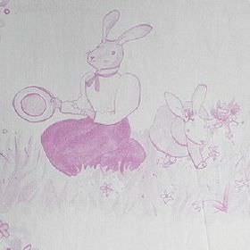 Picnic - Rosa - 100% cotton fabric made in very pale grey-white, with a fuschia design of bunny rabbits wearing clothes, with flowers