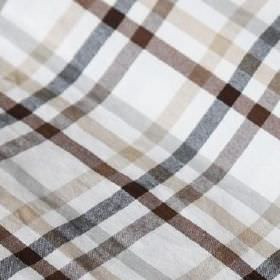 Roosevelt - Anthracita - Beige, light grey, dark grey and dark shades of brown making a simple checked design on white linen and cotton blend fa
