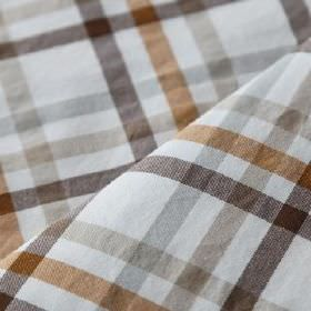 Roosevelt - Curry - White linen and cotton blend fabric made with a simple checked design in copper, dark brown, light grey & beige colours