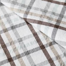 Roosevelt - Elefante - Dark brown, beige, white and shades of grey making up a linen and cotton blend fabric with a simple, regular checked desi