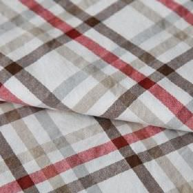 Roosevelt - Rouge - Simple checked fabric made from a white, red, light grey, beige and dark brown coloured blend of linen and cotton