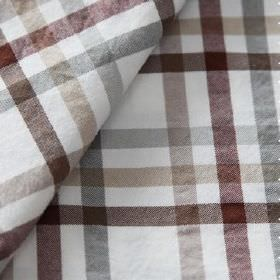 Roosevelt - Sandalo - Fabric made from white linen and cotton behind a checked design in shades of maroon, dark brown, grey and beige