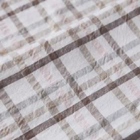 Roosevelt - Zencero - White fabric made from linen and cotton behind a simple checked design in various different brown and beige shades