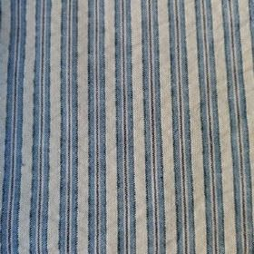 Party Line - Blue-Black-Beige - Vertical stripes in dusky blue, navy and light creamy grey on fabric made from 100% cotton