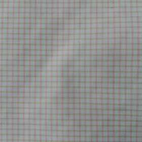 Pepe - Pink-Green - Checked 100% cotton fabric featuring a small, simple design in very pale shades of off-white, light grey and pink