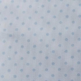Rocio Pique - Blue - Polka dot patterned cotton and polyester blend fabric, featuring a simple design in two similar shades of light blue