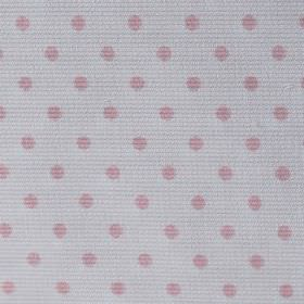 Rocio Pique - Pink - Light grey-white cotton and polyester blend fabric made with a simple polka dot pattern in pale pink