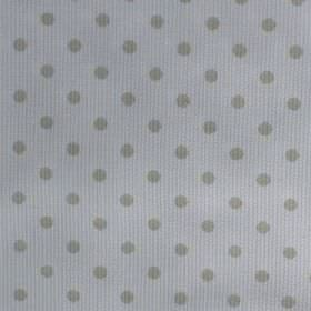 Rocio Pique - Beige - Cement grey coloured polka dots scattered on a very pale grey-white coloured cotton & polyester blend fabric backgroun