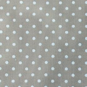 Rocio Pique - Dark-Khaki - Simple white polka dots patterning dark battleship grey coloured fabric containing a mixture of cotton and polyes