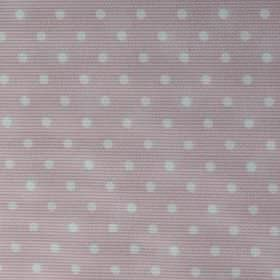 Rocio Pique - Pink - Fabric made from pale pink cotton and polyester, with a simple white polka dot pattern