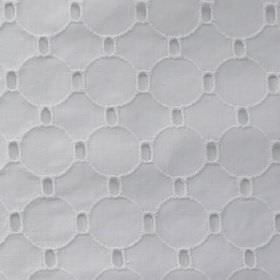 Ruiloba - White - 100% cotton fabric in white, featuring a simple, slightly raised, embroidered geometric circle and rectangle pattern