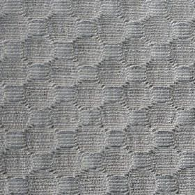 Round We Go - Platinum - Circles and squares creating a simple but very subtly textured pattern on ash grey fabric woven from cotton and polye