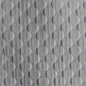 Round We Go - Cream - Raised, slightly textured circles creating a very subtle pattern on steel grey coloured cotton and polyester blend fabri