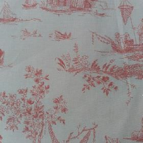Sheila - Pink - Outdoor scenes including boats and fishermen drawn in light red on a white 100% cotton fabric background