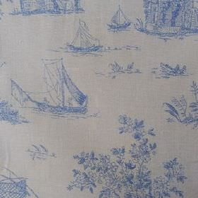 Sheila - Blue - 100% cotton fabric made in very pale grey-white, printed with blue drawings of outdoor scenes, trees and fishing boats