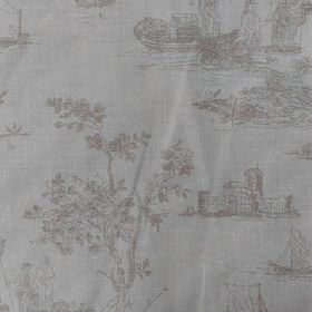 Sheila - Stone - Outdoor scenes, trees and fishing boats printed on 100% cotton fabric in white and light beige colours